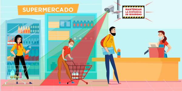 Análisis de vídeo en supermercados y establecimientos alimentarios para cumplir con la distancia de seguridad