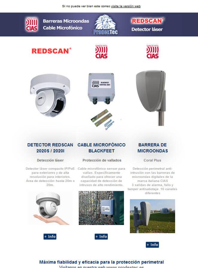 Barreras de microondas, cable microfónico para protección de vallados y detectores láser