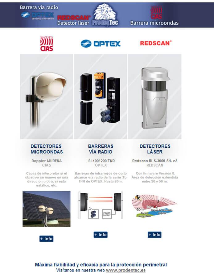 Barreras Vía Radio, detectores microondas y detectores láser