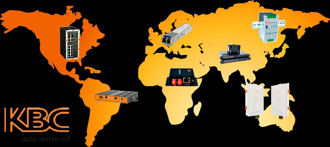 Sistemas IP, conversores de medios, switches, modulos SFP, routers, fibra optica, fuentes de alimentacion de la marca KBC