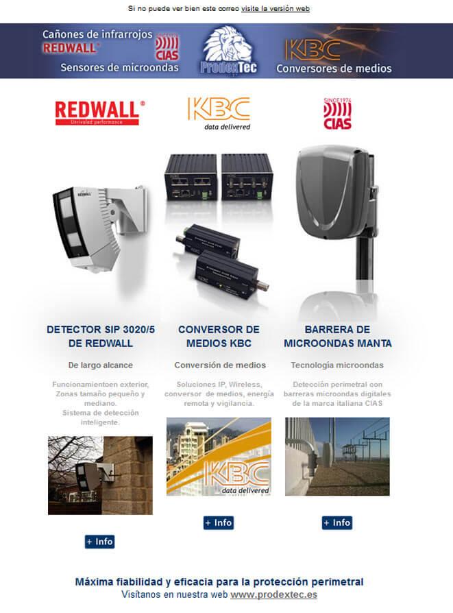 Conversores de medios de KBC, barreras microondas de CIAS y detectores infrarrojos de REDWALL