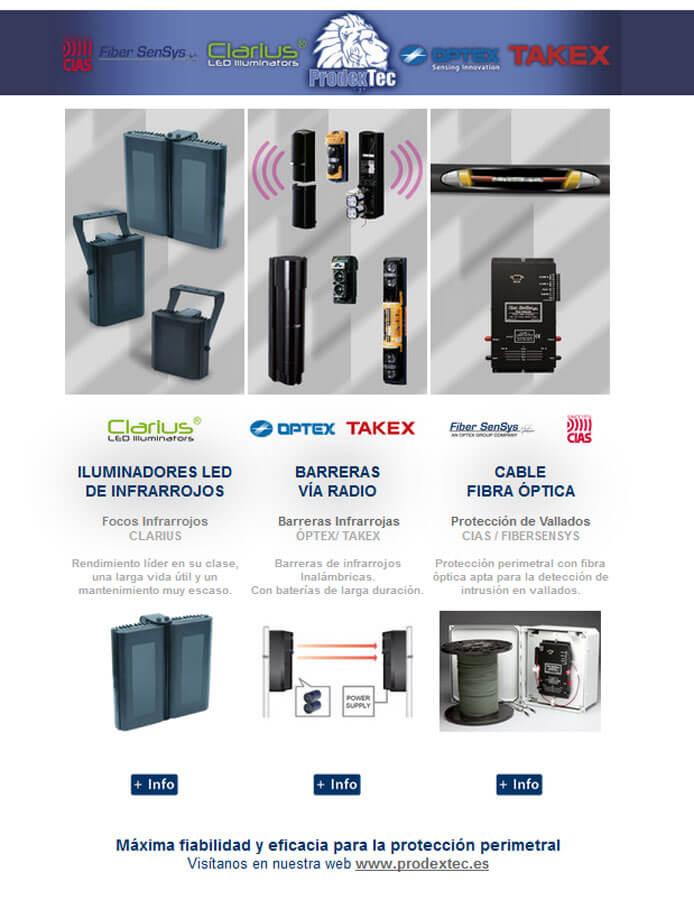 Fibra öptica, focos infrarrojos y barreras  infrarrojas vía radio