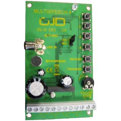 El Multispeech GJD-090 de GJD es un módulo de emisor de voz de 4 canales diseñado para la monitorización de intrusos, control de accesos, recepción, información y alertas.