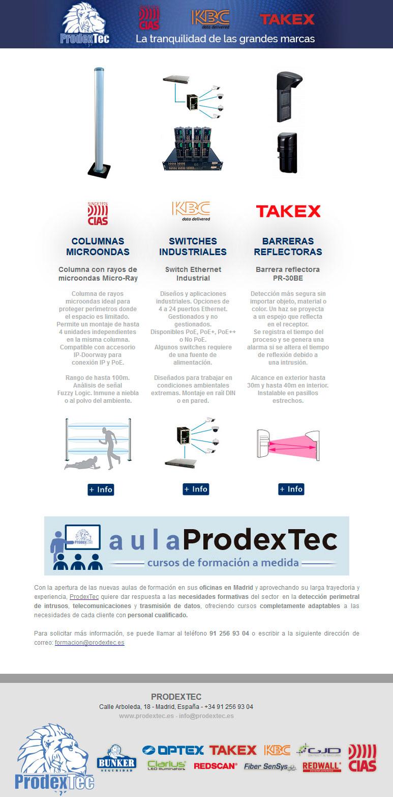 Columna de Microondas Micro-Ray, Switches Industriales de KBC Netwroks y Barrera reflectora PR-30BE de TAKEX