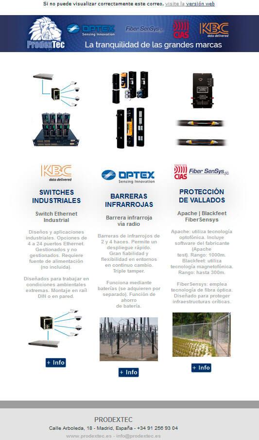 Switches industriales, barreras infrarrojas via radio, protección de vallados